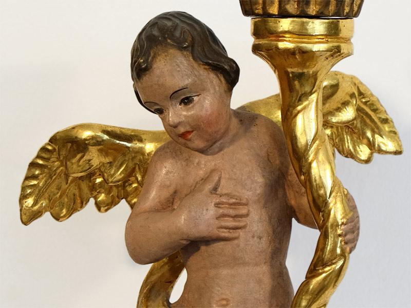 Branntwein vergoldeter Kerzenleuchter Engel handgeschnitzt